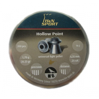 Пули для пневматики H&N Hollow Point 6,35мм 1,7г (200 шт)