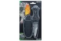 Нож McNETT тактика, сталь 420, клинок 7,62см., цв.Black, стеклобой, стропорез, серрейтор+ножны б/съем. (пластик)