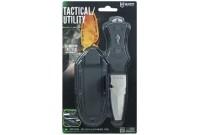 Нож McNETT тактика, сталь 420, клинок 7,62см скошен, Black, стеклобой, стропорез, серрейтор+ножны быстр (пласт)